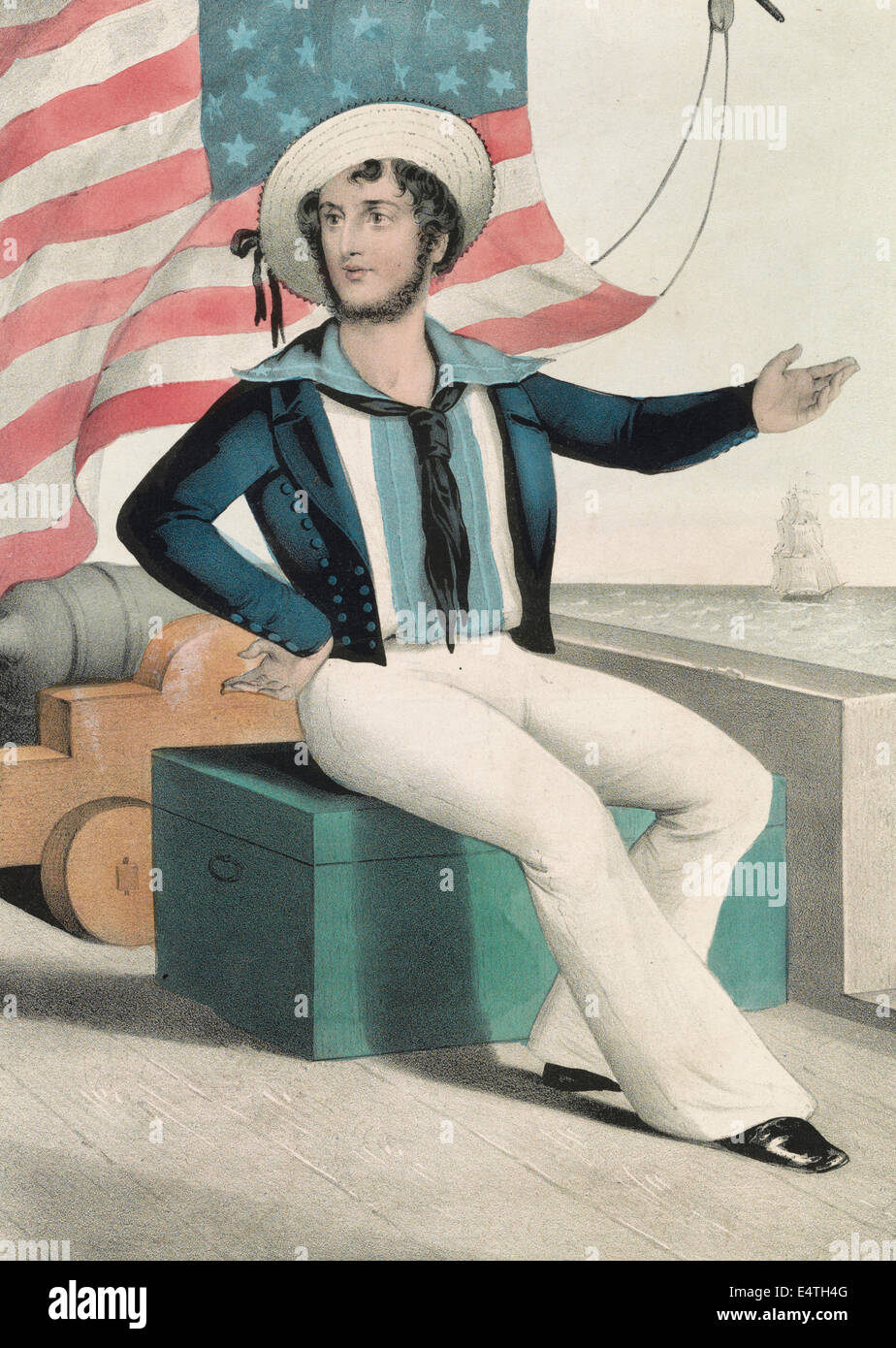 The American tar. 'Don't give up the ship' - American Sailor, circa 1845 - Stock Image