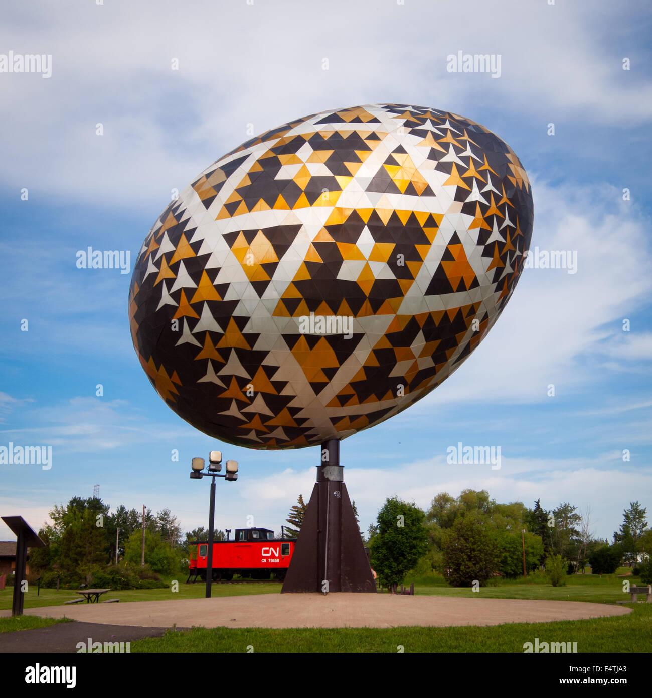 The Vegreville Egg, a giant (world's largest) sculpture of ...