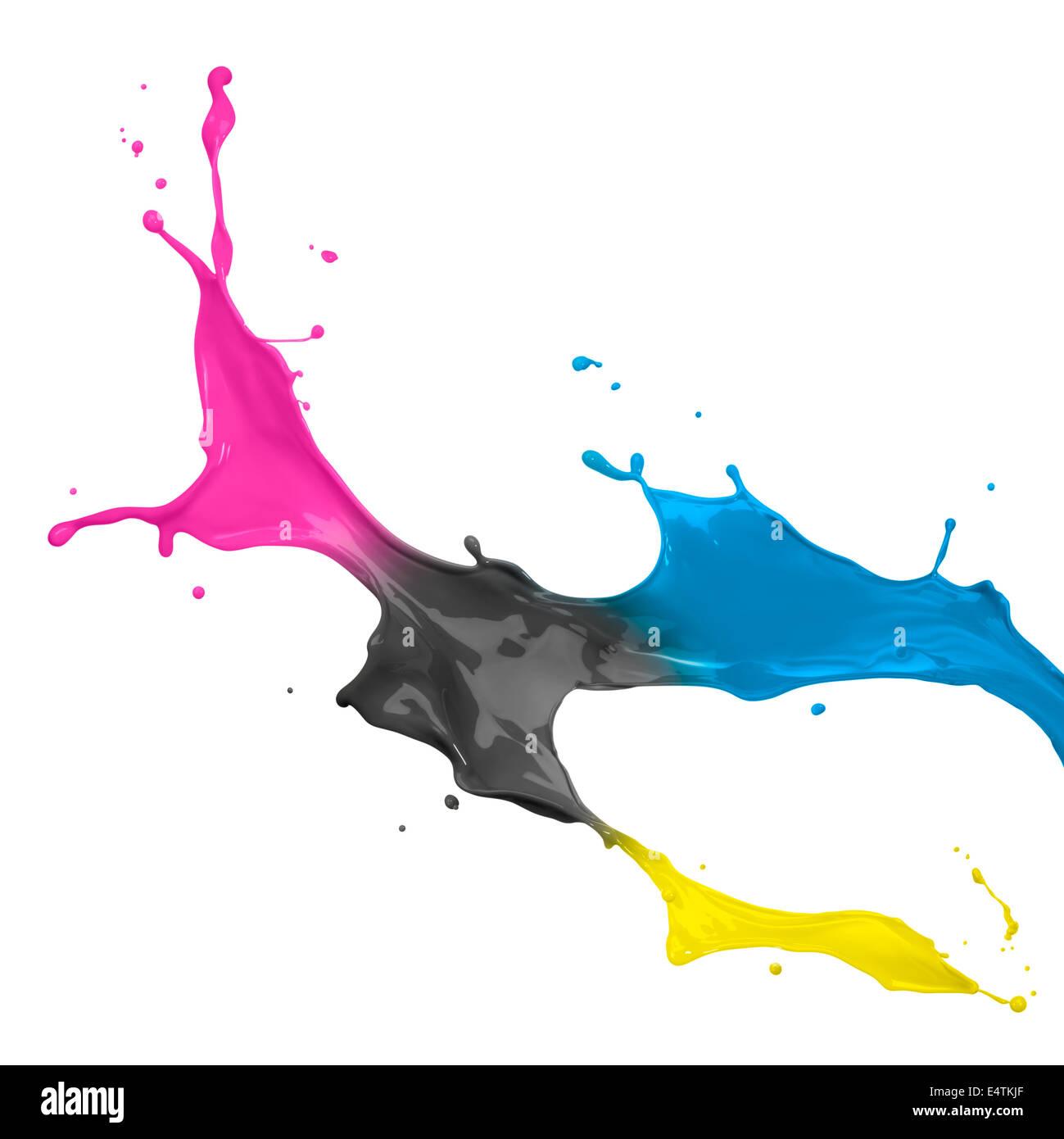 paint splash of cyan, magenta, yellow and black Stock Photo