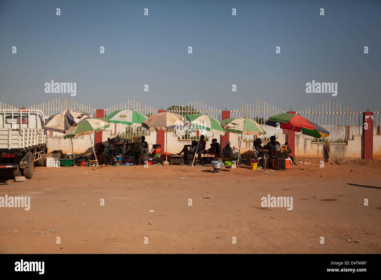 Angola, Luanda, Africa daily life umbrellas and informal traders - Stock Image