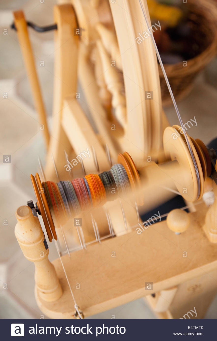 A detail of the spinning wool process at the Hebridean Woolshed at West Kilbride, Isle of South Uist, Outer Hebrides, - Stock Image
