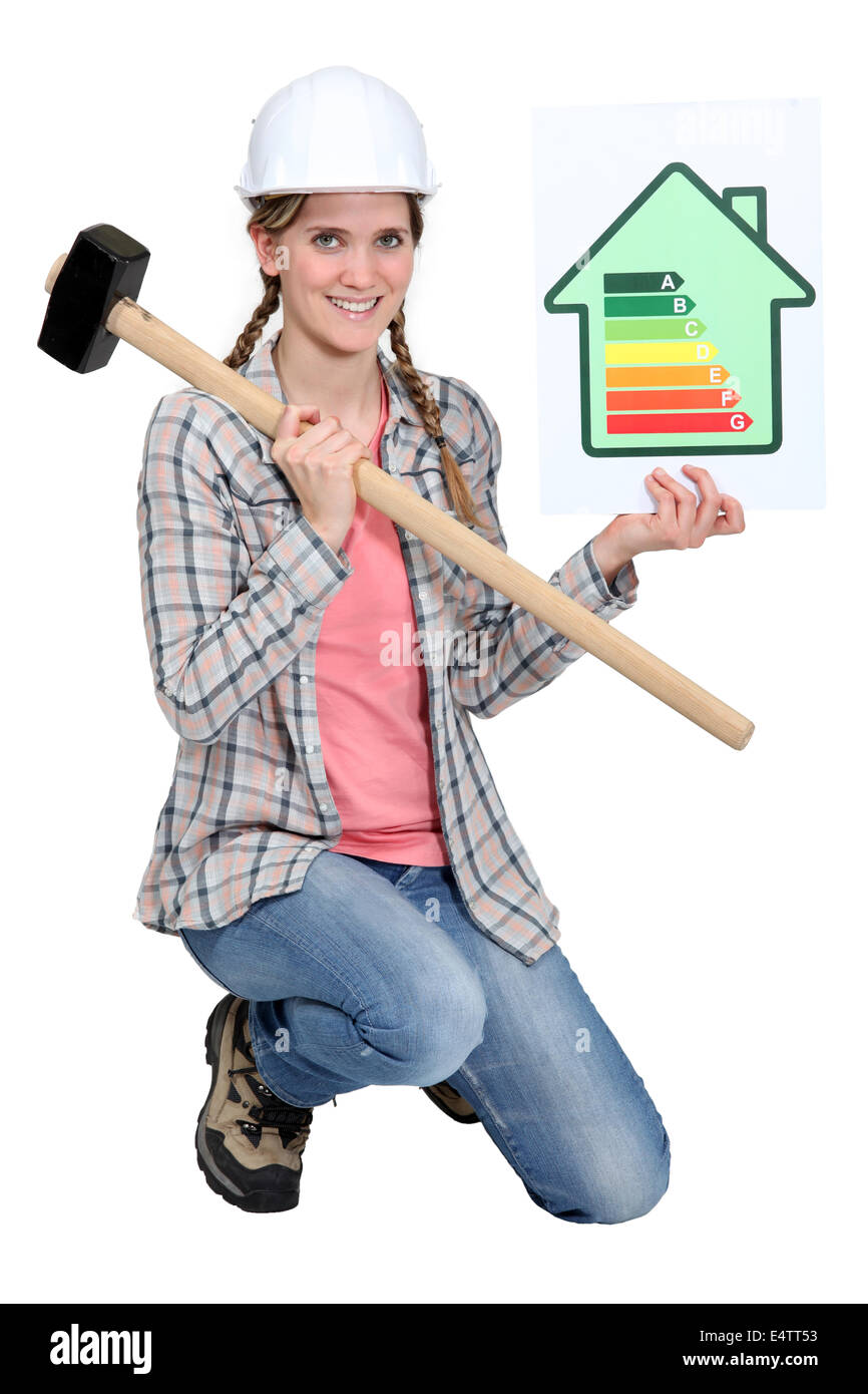 Woman with energy rating poster Stock Photo