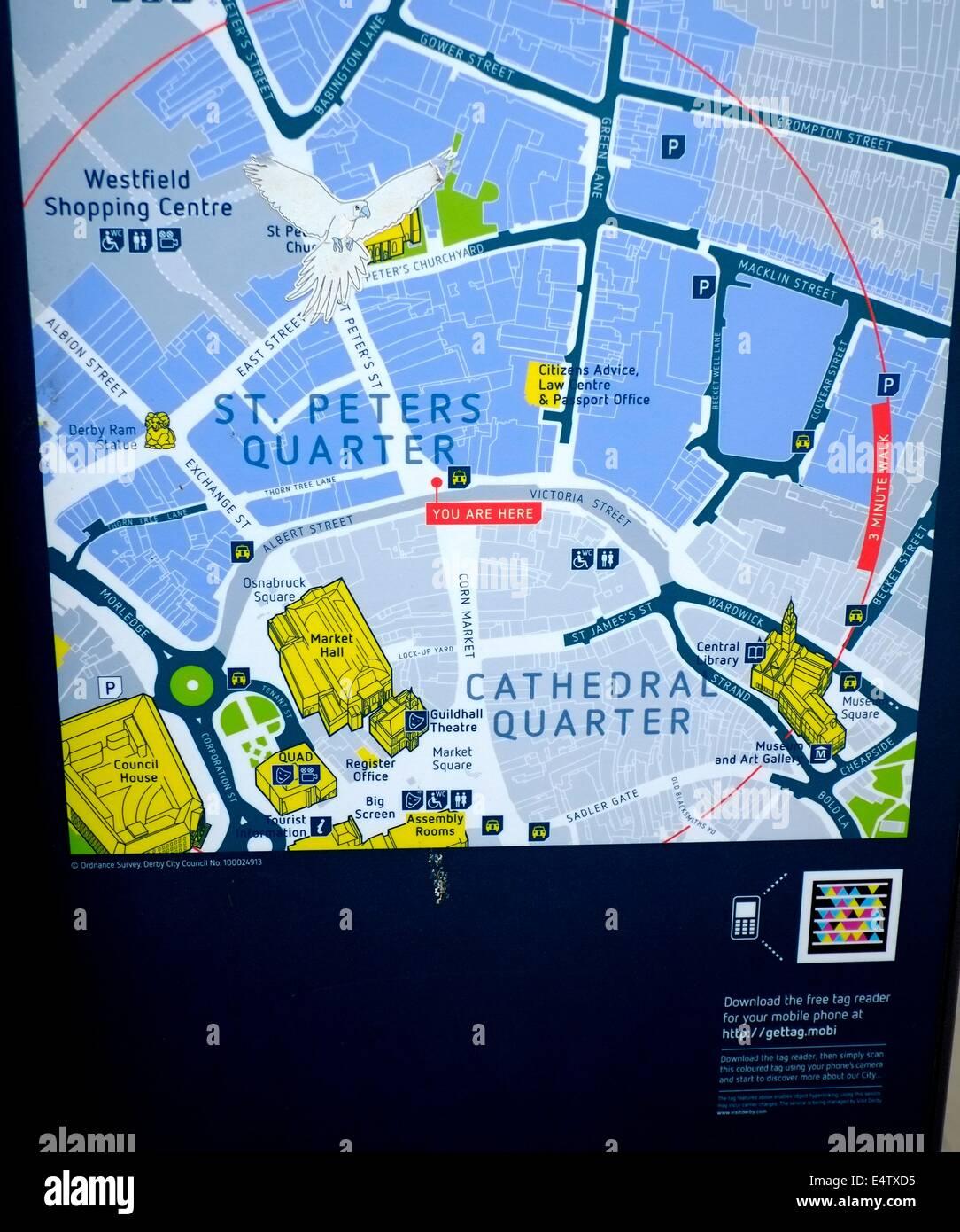 Derby City Centre Map England Uk Stock Photo 71847697 Alamy