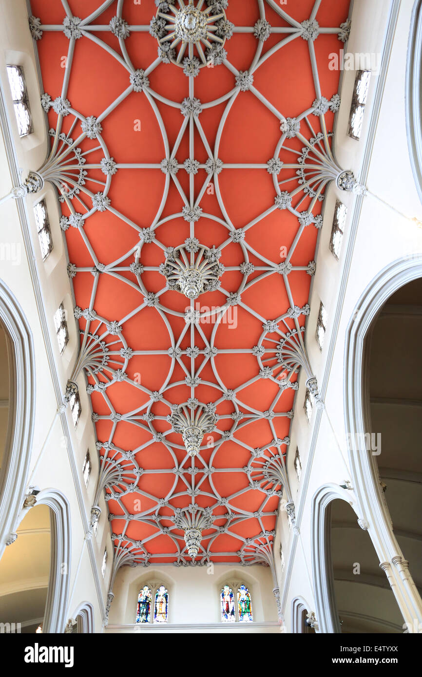 Fan vaulting ceiling at St Matthews Church Walsall - Stock Image