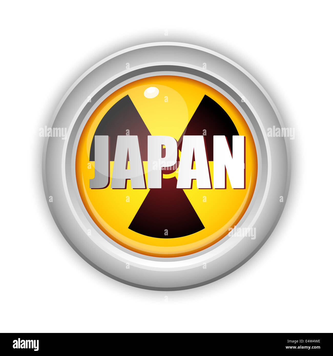 Japan Nuclear Disaster Yellow Button - Stock Image