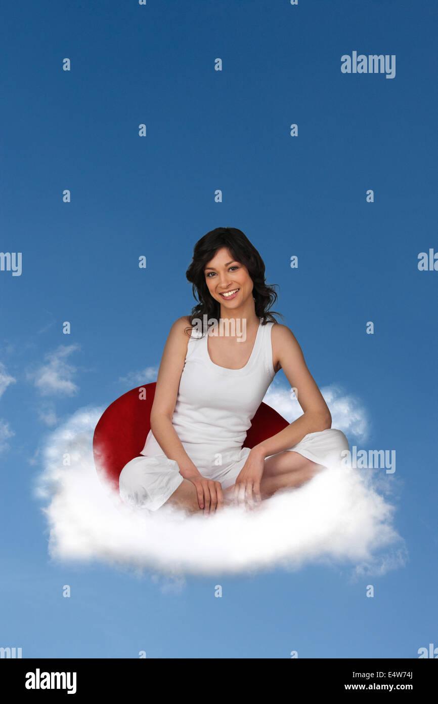 White Fluffy Cloud Against Blue Sky Stock Photo
