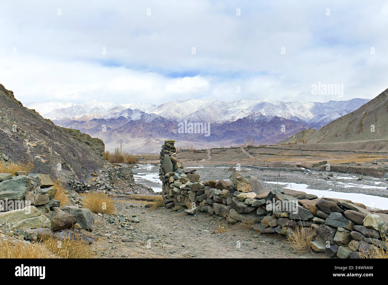 view of the valley in the Himalayas - Stock Image