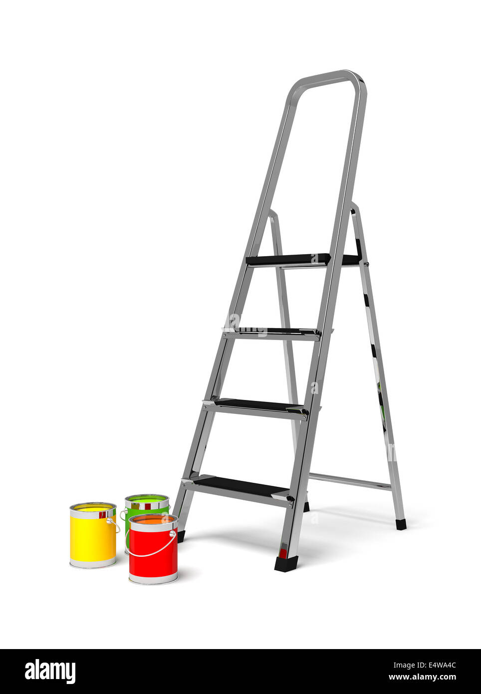metal stairs stepladder and paint Stock Photo
