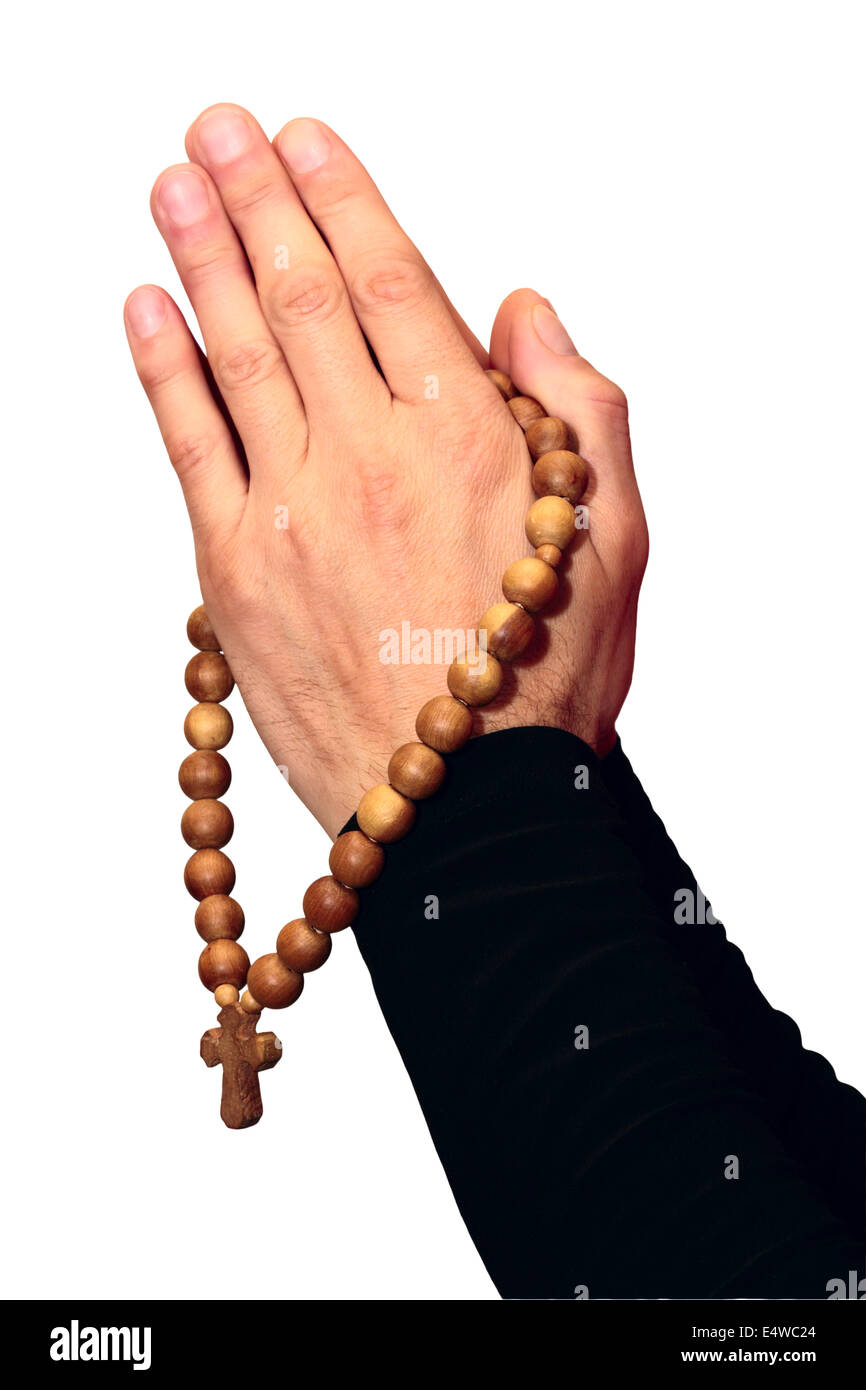 Wooden rosary - Stock Image