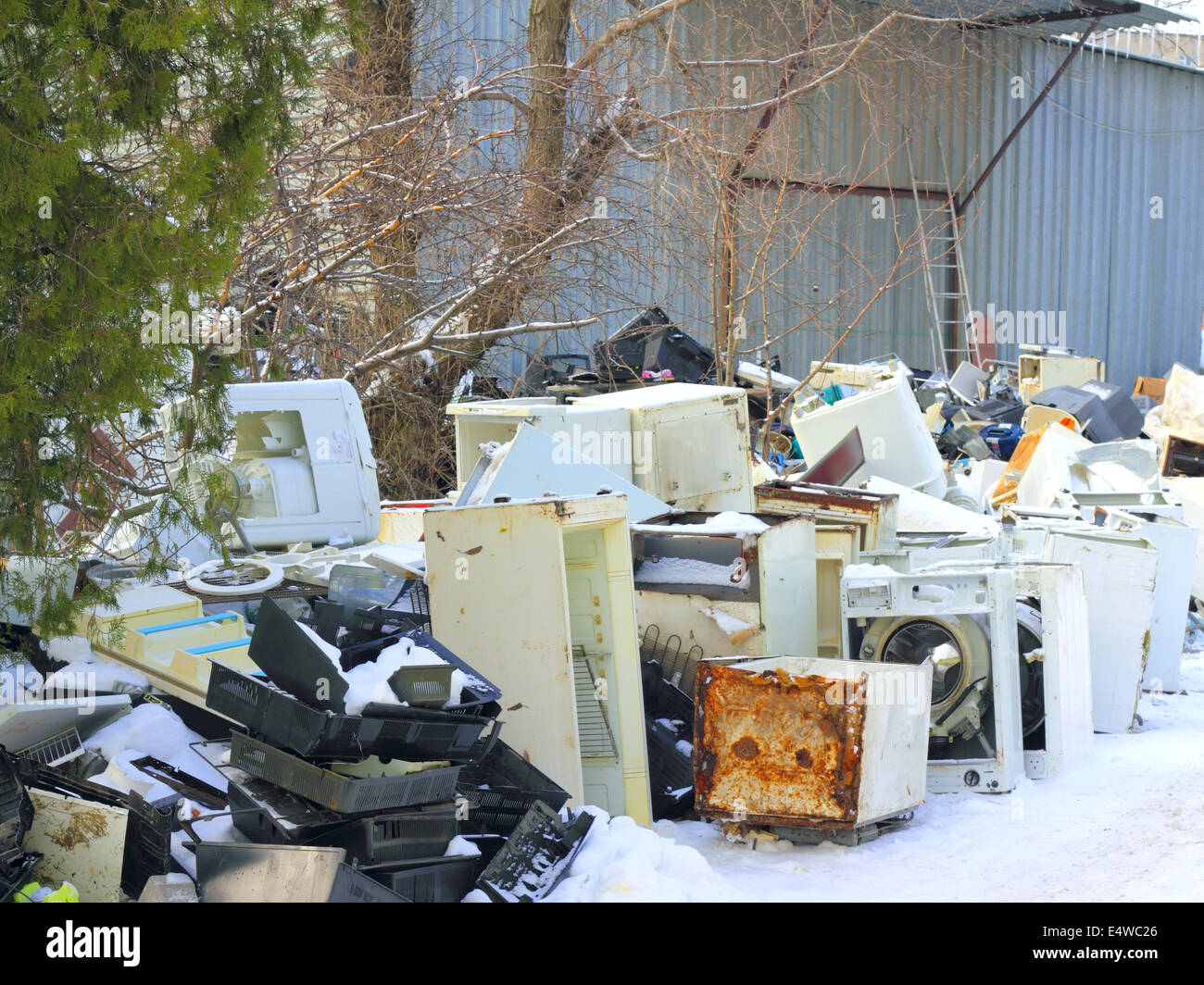 Dumping of household appliances - Stock Image