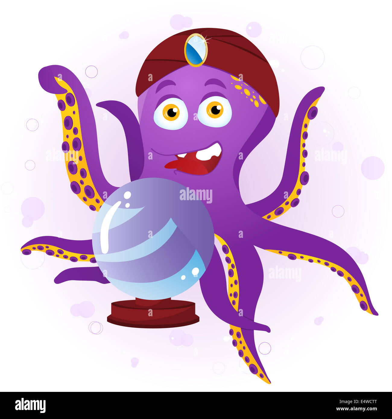 Octopus Fortune Teller with Crystal Ball. - Stock Image