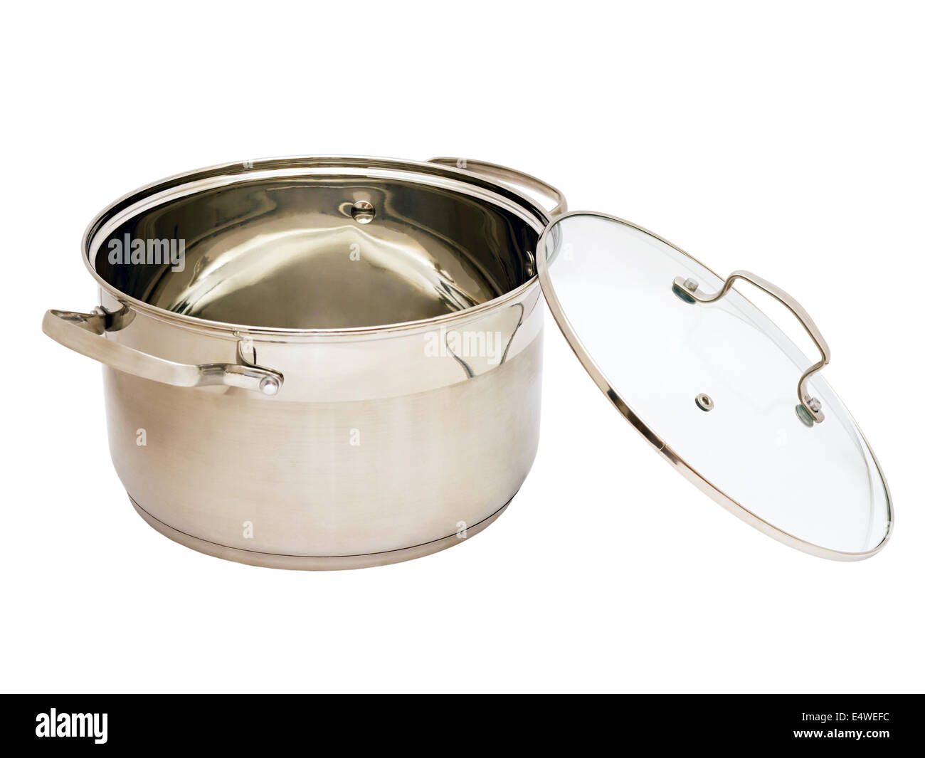 iron pan with glass lid - Stock Image