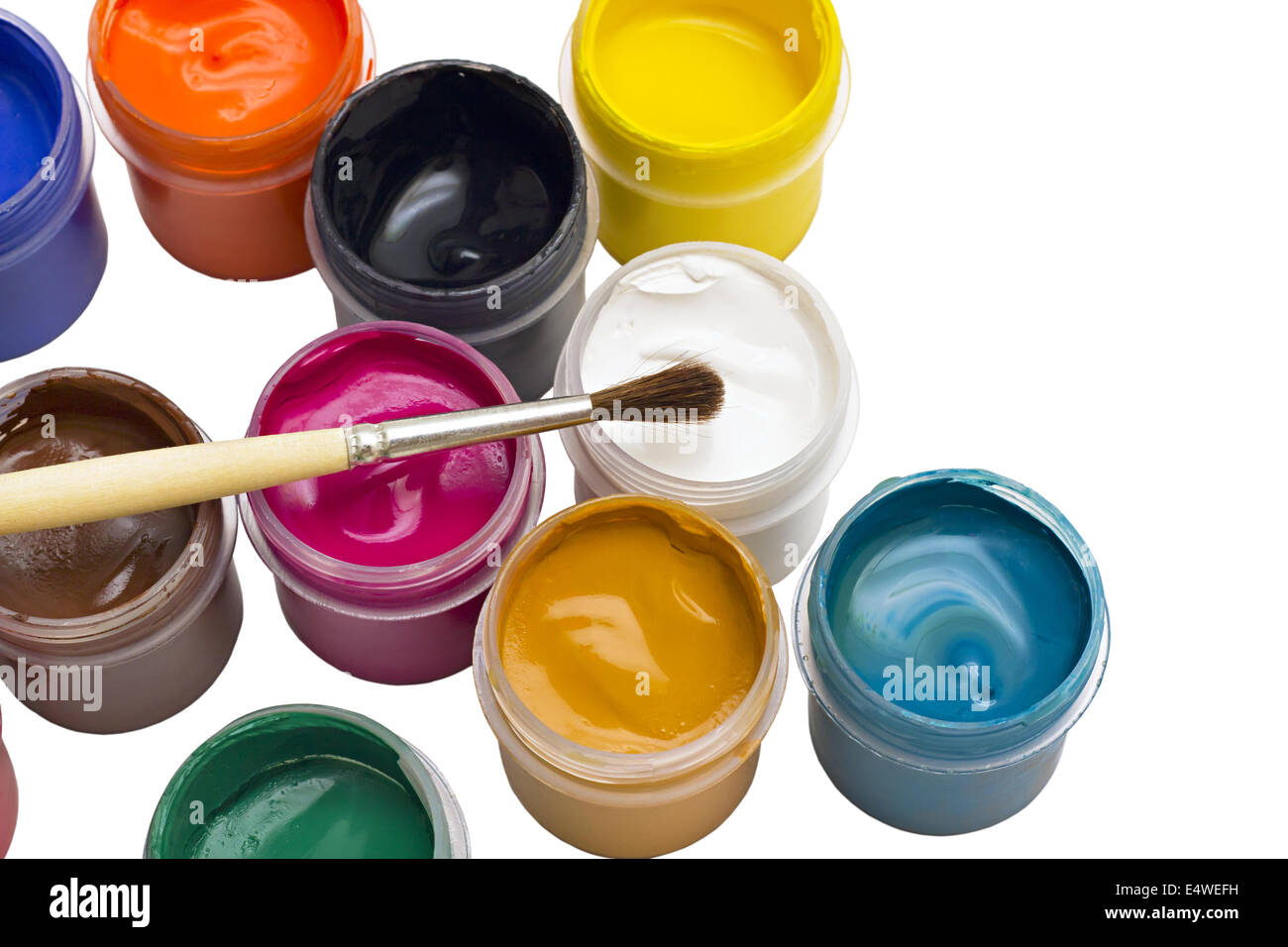 colorful gouache paint and brush - Stock Image