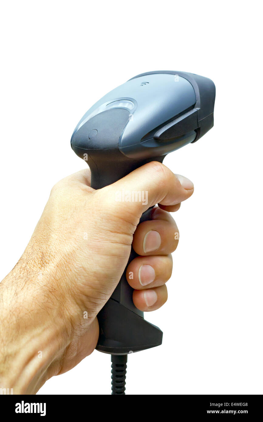 scanner barcode in man's hand - Stock Image