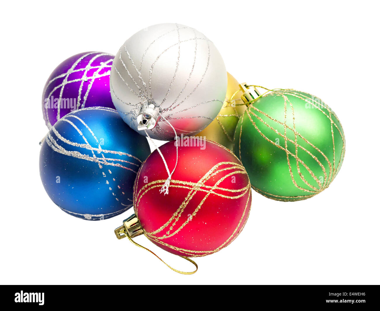 multi-colored Christmas balls - Stock Image