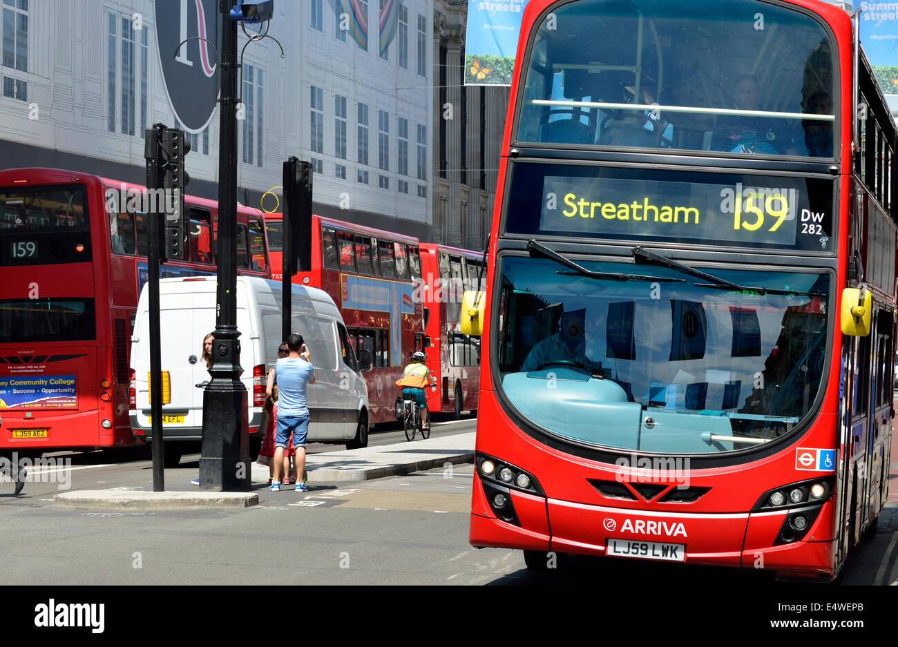 London, England, UK. New Routemaster Double-decker bus in Regent Street - Stock Image
