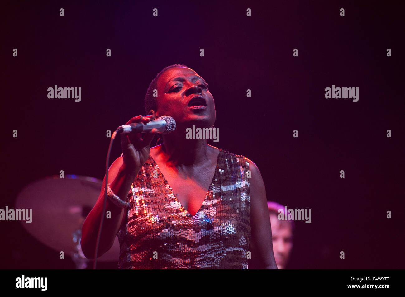 New York, US. 16th July, 2014. Sharon Jones, 58, unleashed a torrent of energy as she performed with the Dap-Kings - Stock Image