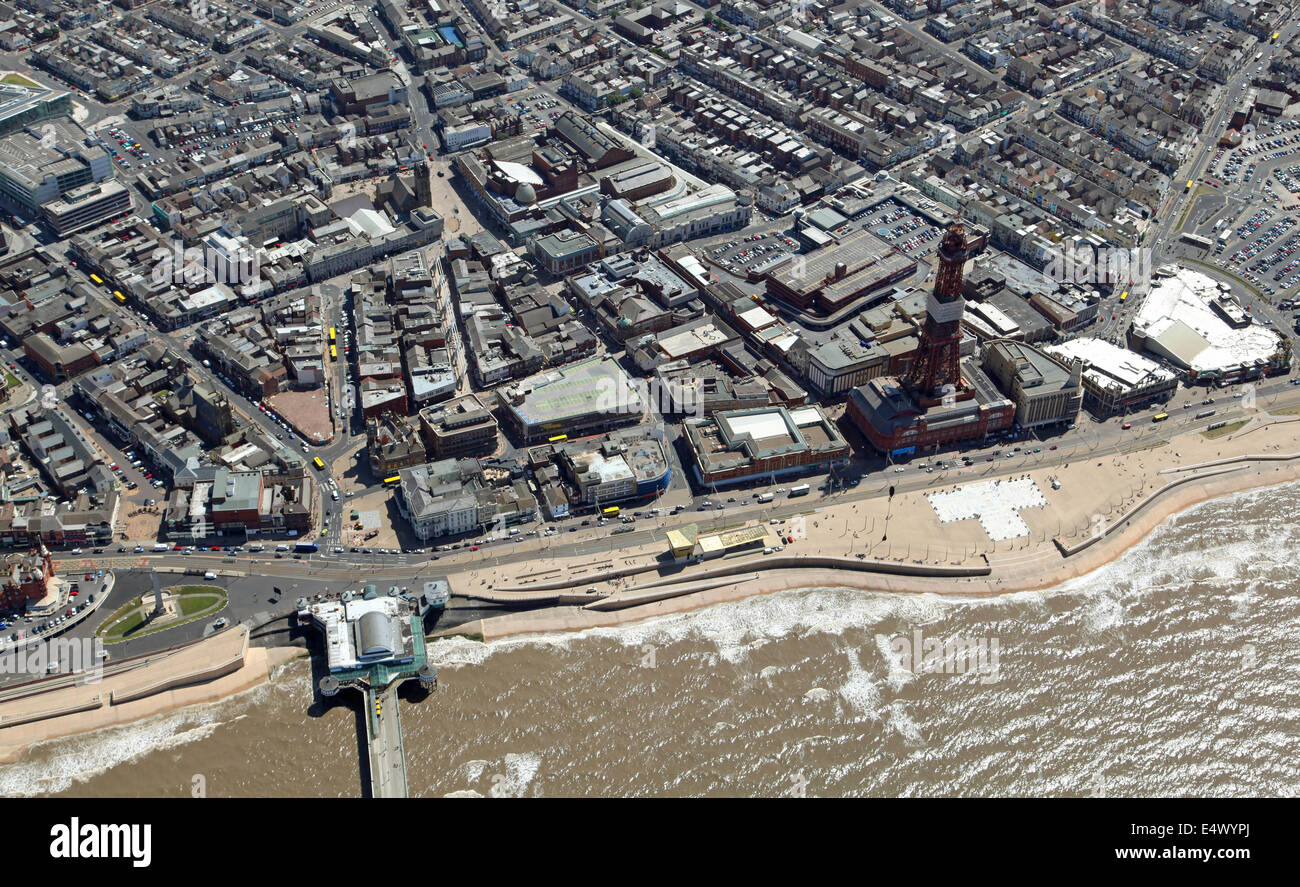 aerial view of Blackpool Tower and Seafront Promenade, UK - Stock Image