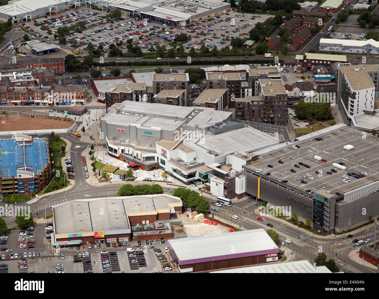 aerial view of The Rock Shopping and Leisure Complex in Bury, Lancashire, UK - Stock Image