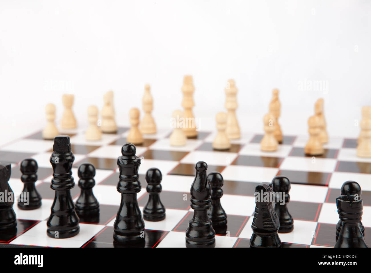 Chessboard set up to play - Stock Image
