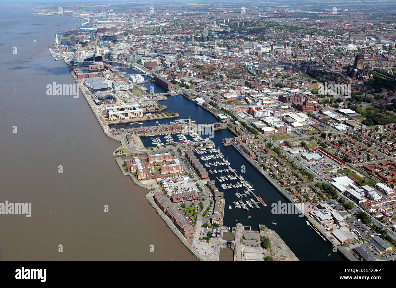 aerial view of Liverpool waterside area fronting on to the River Mersey, UK - Stock Image