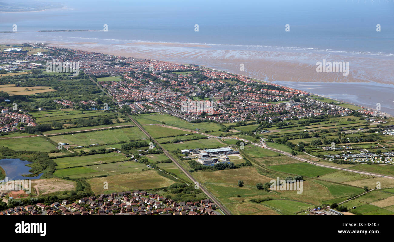 aerial view of Hoylake on the Wirral, UK - Stock Image