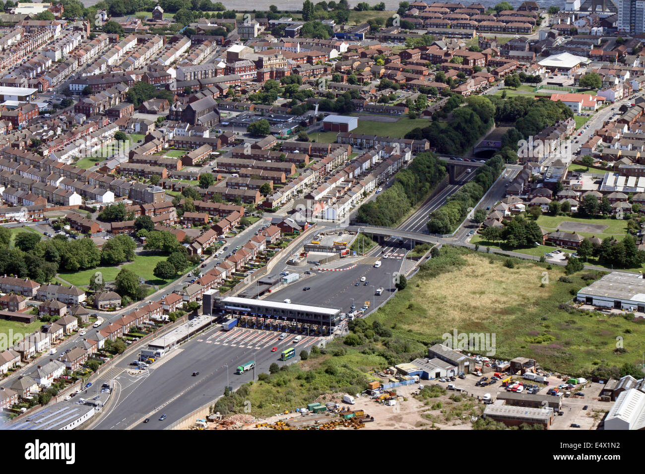 aerial view of the western entrance to the Mersey Tunnel which runs from from The Wirral to Liverpool, UK - Stock Image