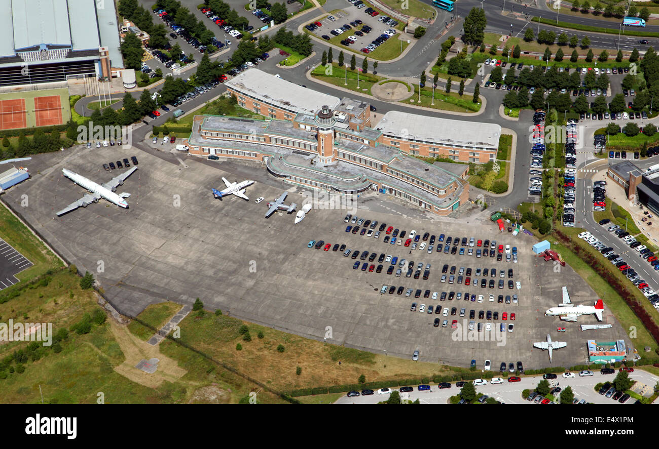 Aerial view of the former Speke Airport in Liverpool, UK. Now a Crown Plaza Hotel. Stock Photo