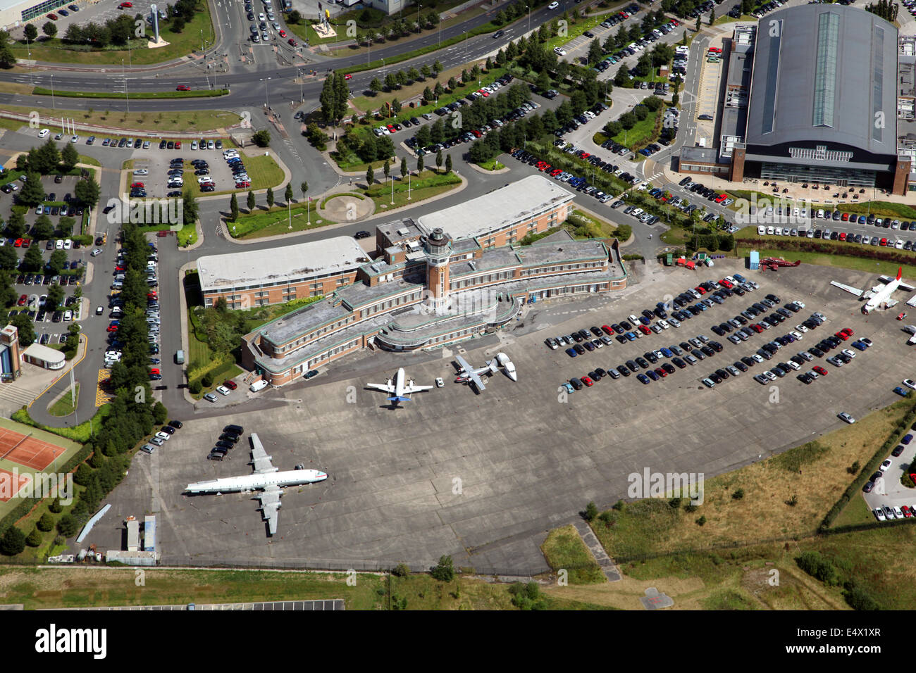 Aerial view of the former Speke Airport in Liverpool, UK. Now a Crown Plaza Hotel. - Stock Image
