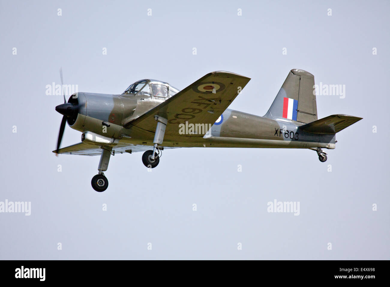 England UK circa 2014 An unamed pilot flies the Percival Provost - XF 603 airplane at a vintage aircraft pageant Stock Photo