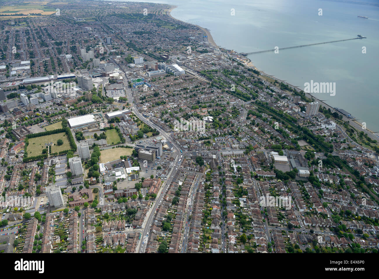 An aerial view of Southend town centre and the Pier - Stock Image