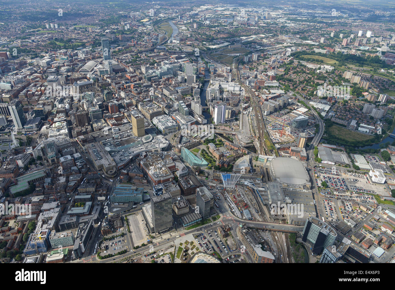 An aerial view looking south west from Victoria Station towards Manchester city centre. - Stock Image