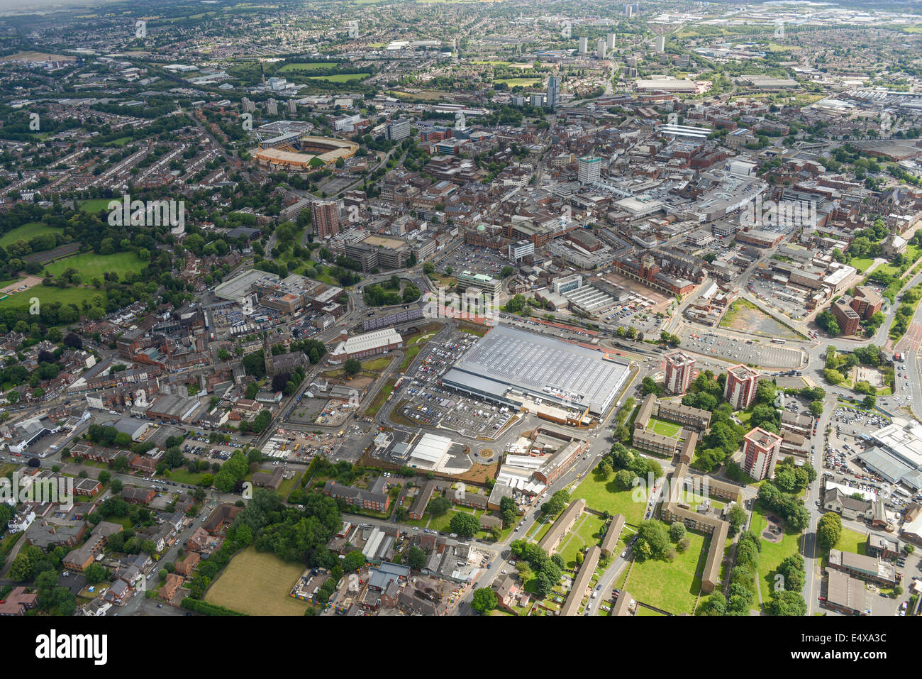 An aerial view of Wolverhampton city centre - Stock Image