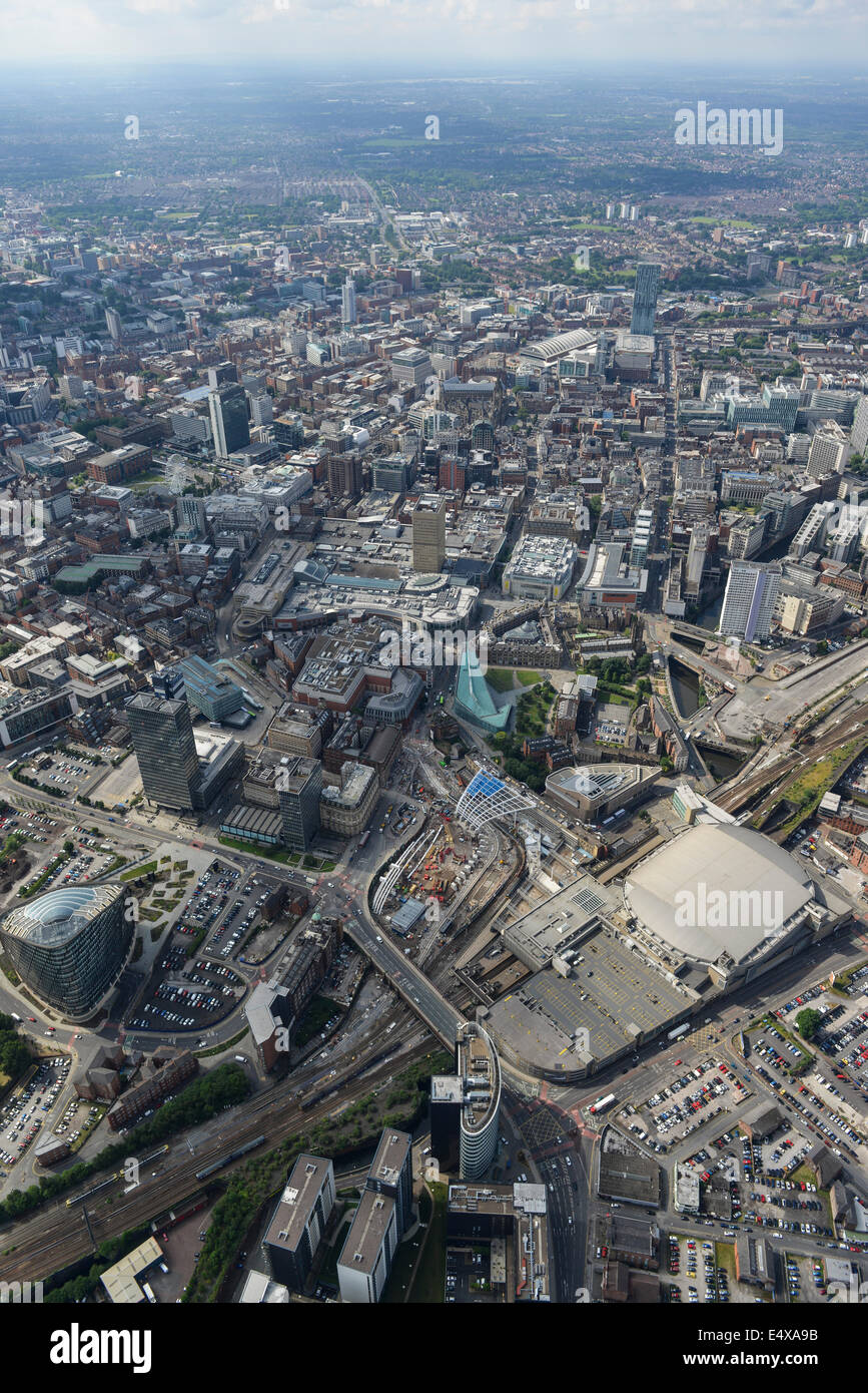 Aerial view of looking from Victoria Station towards Central Manchester - Stock Image