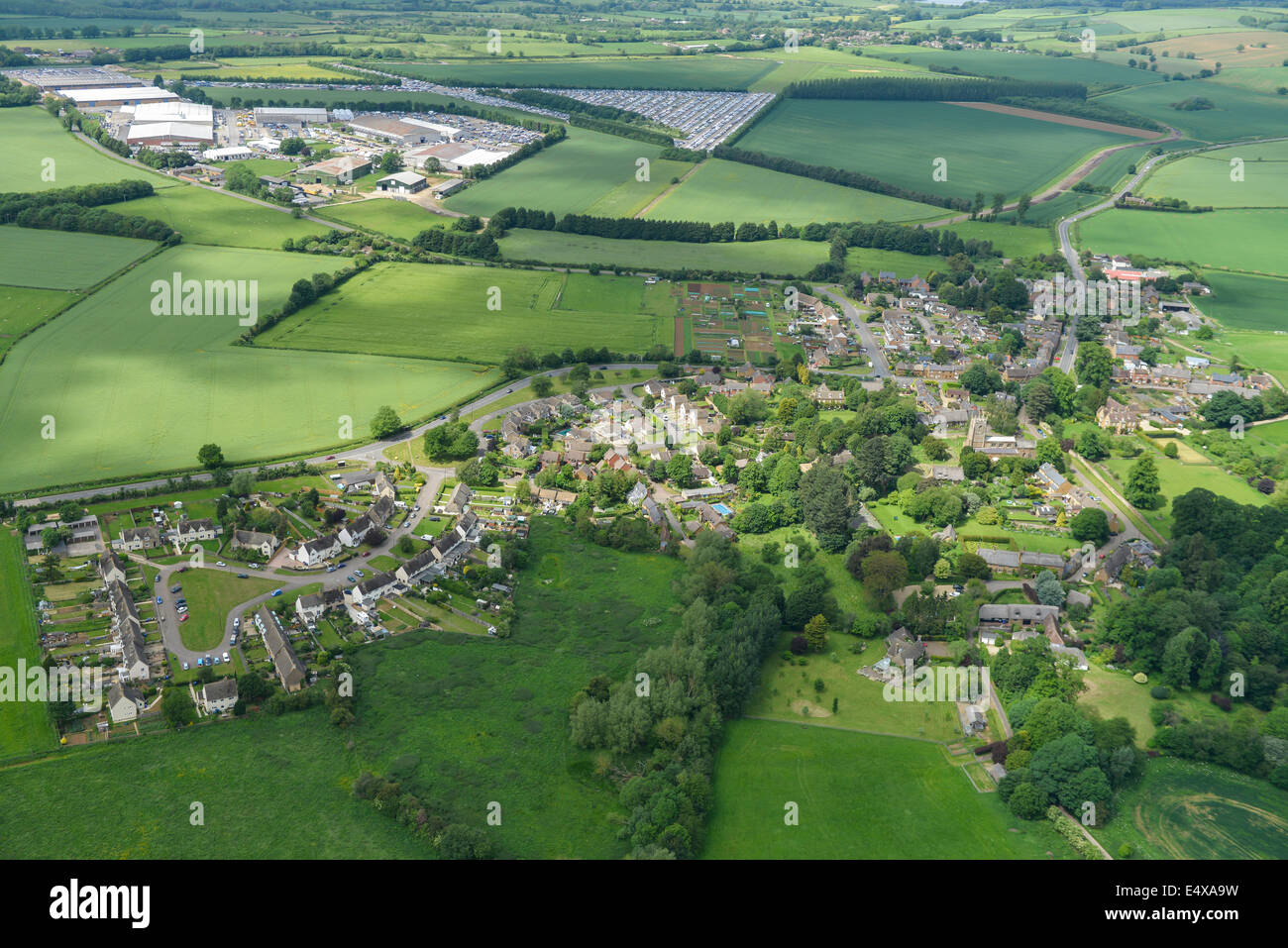 An aerial view of Chipping Warden Northants with the Appletree Industrial Estate (former RAF Chipping Warden) in - Stock Image