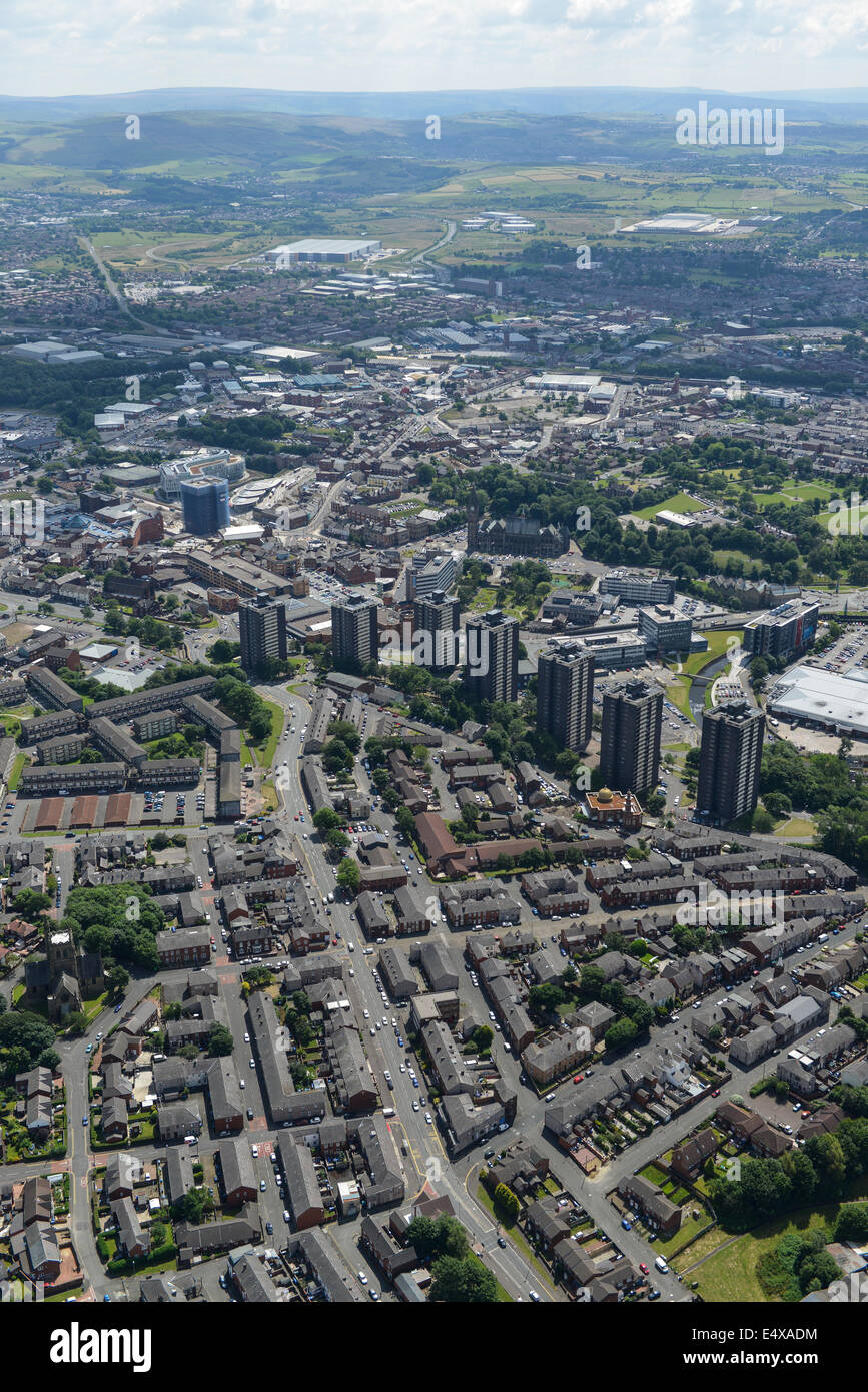 An aerial view of Rochdale in Greater Manchester showing the Pennines in the distance - Stock Image