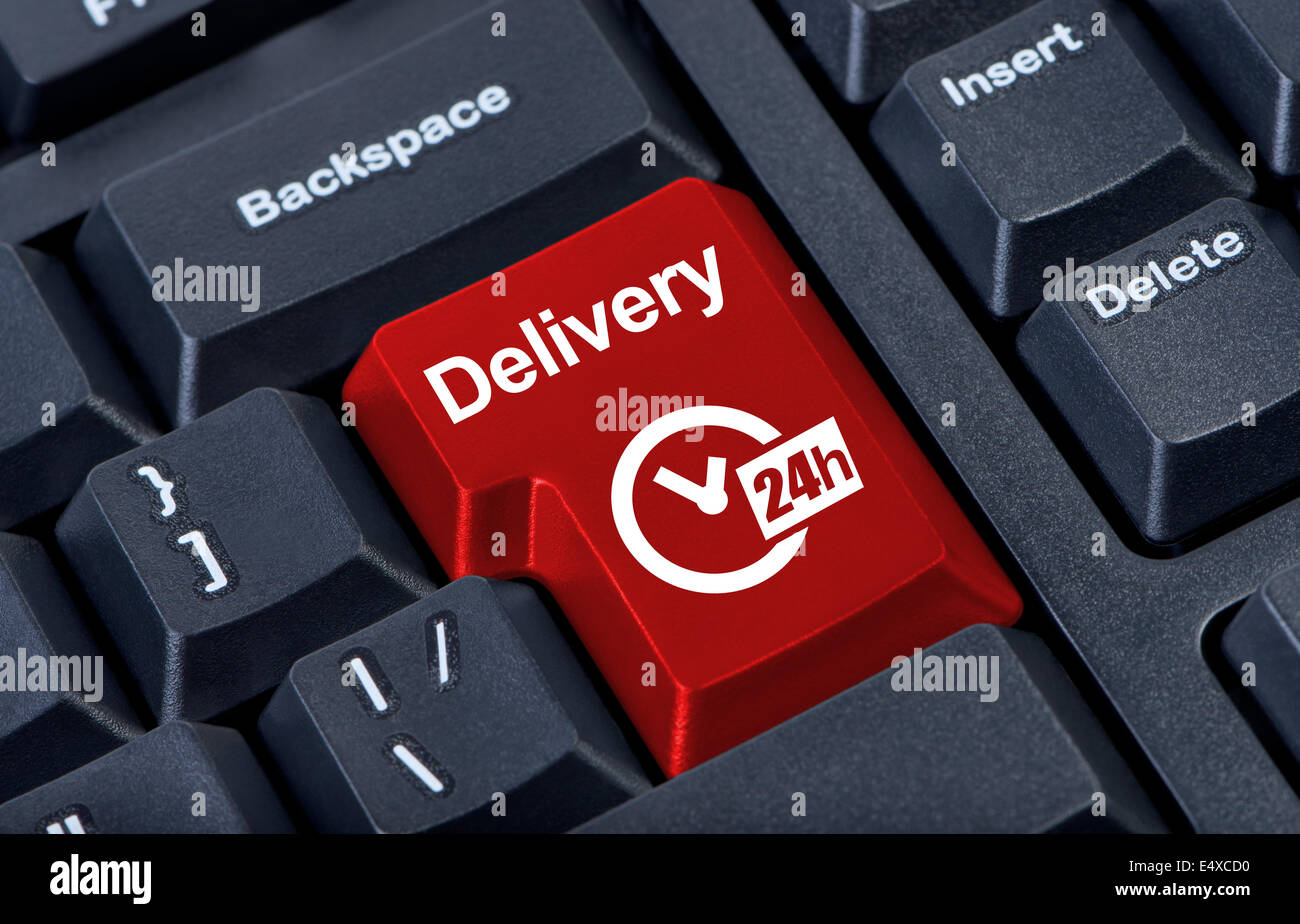 Delivery button with clock 24h. - Stock Image