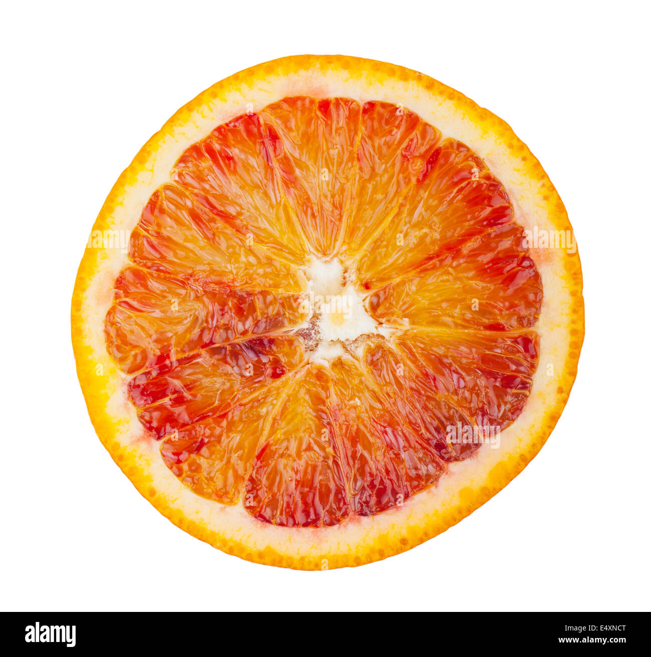 Slice of blood red orange fruit - Stock Image