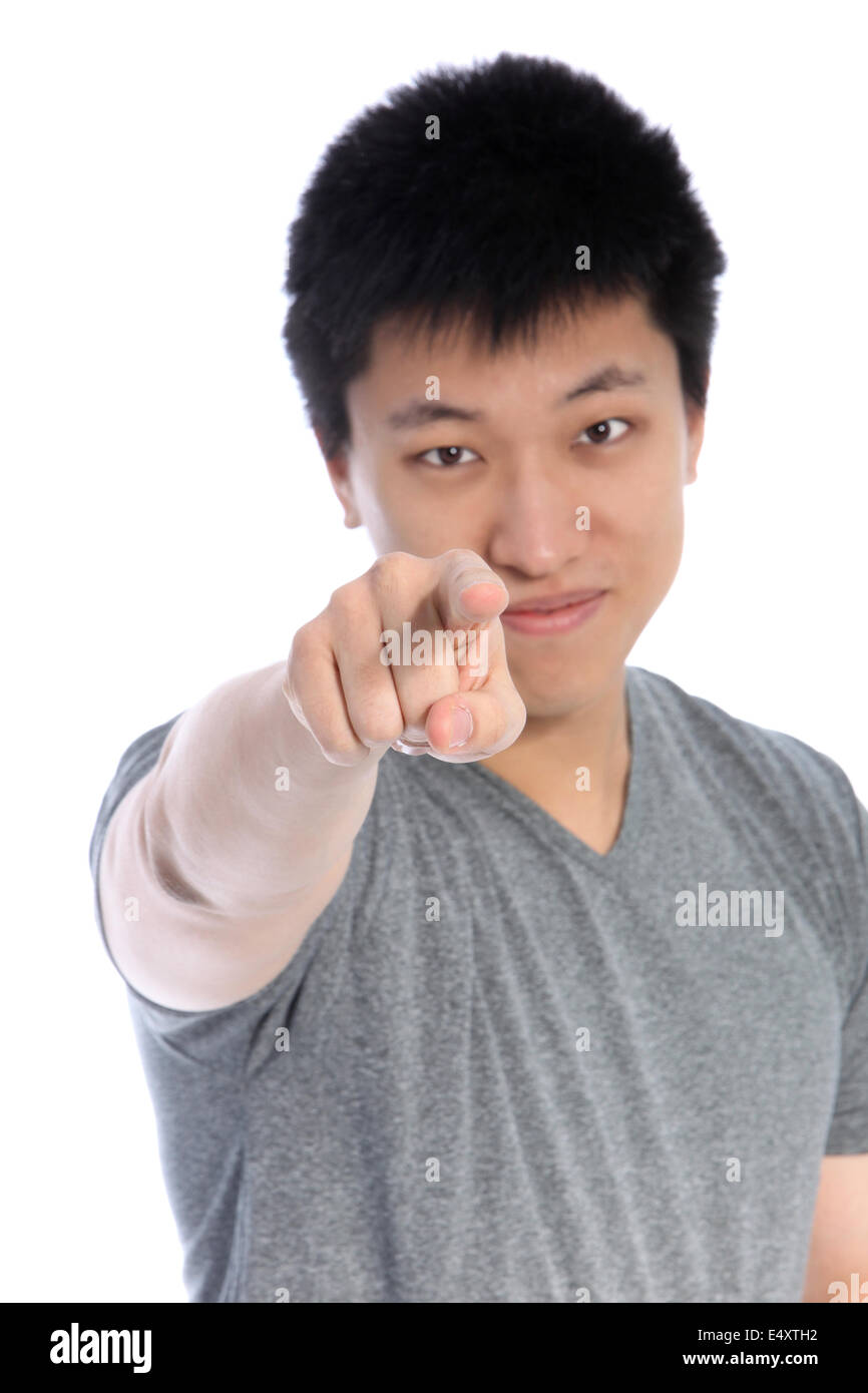 Asian man pointing an accusatory finger - Stock Image