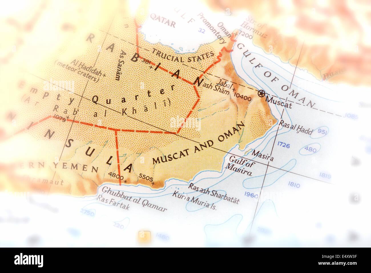 Traveler focused on Oman - preparation for the journey - Stock Image