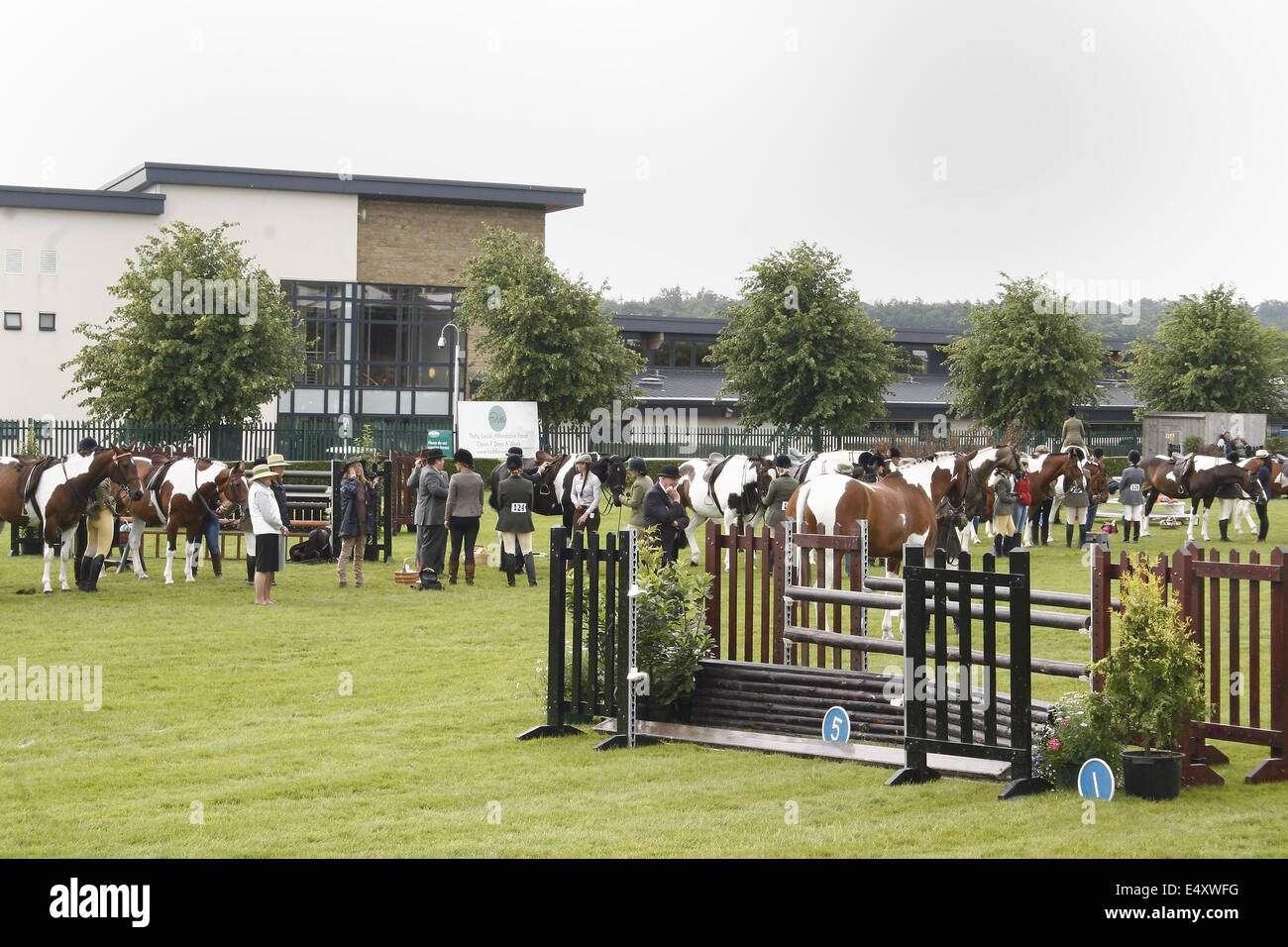 riders wating with horses to be awarded at Great Yorkshire Show, Harrogate, Yorkshire, UK - Stock Image