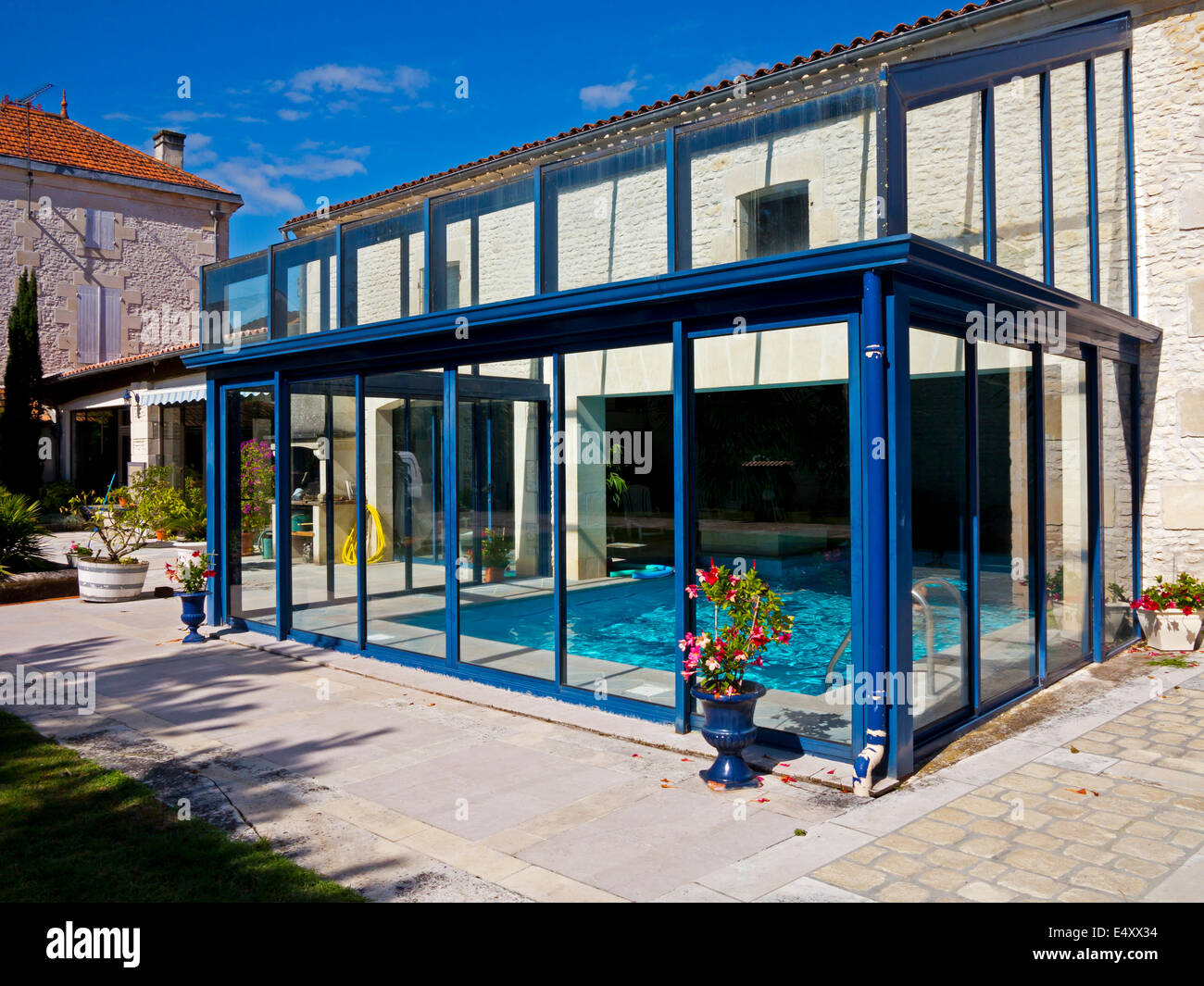 Indoor Swimming Pool In Garden Of Upmarket Gite Or Holiday Home In Perignac South  West France