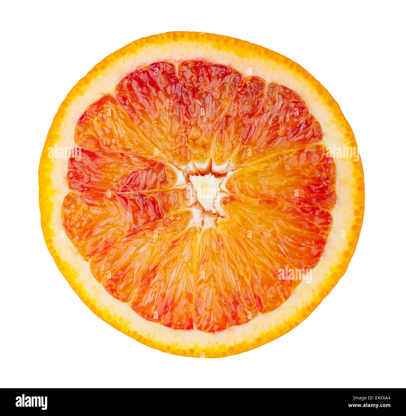 Slice of blood red ripe orange - Stock Image