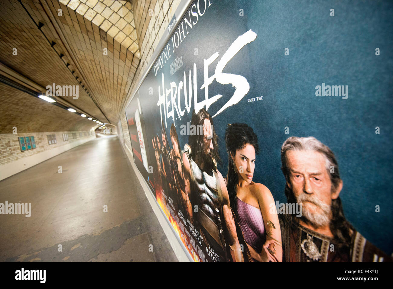 Hercules Poster on a wall in the underground in London England UK - Stock Image