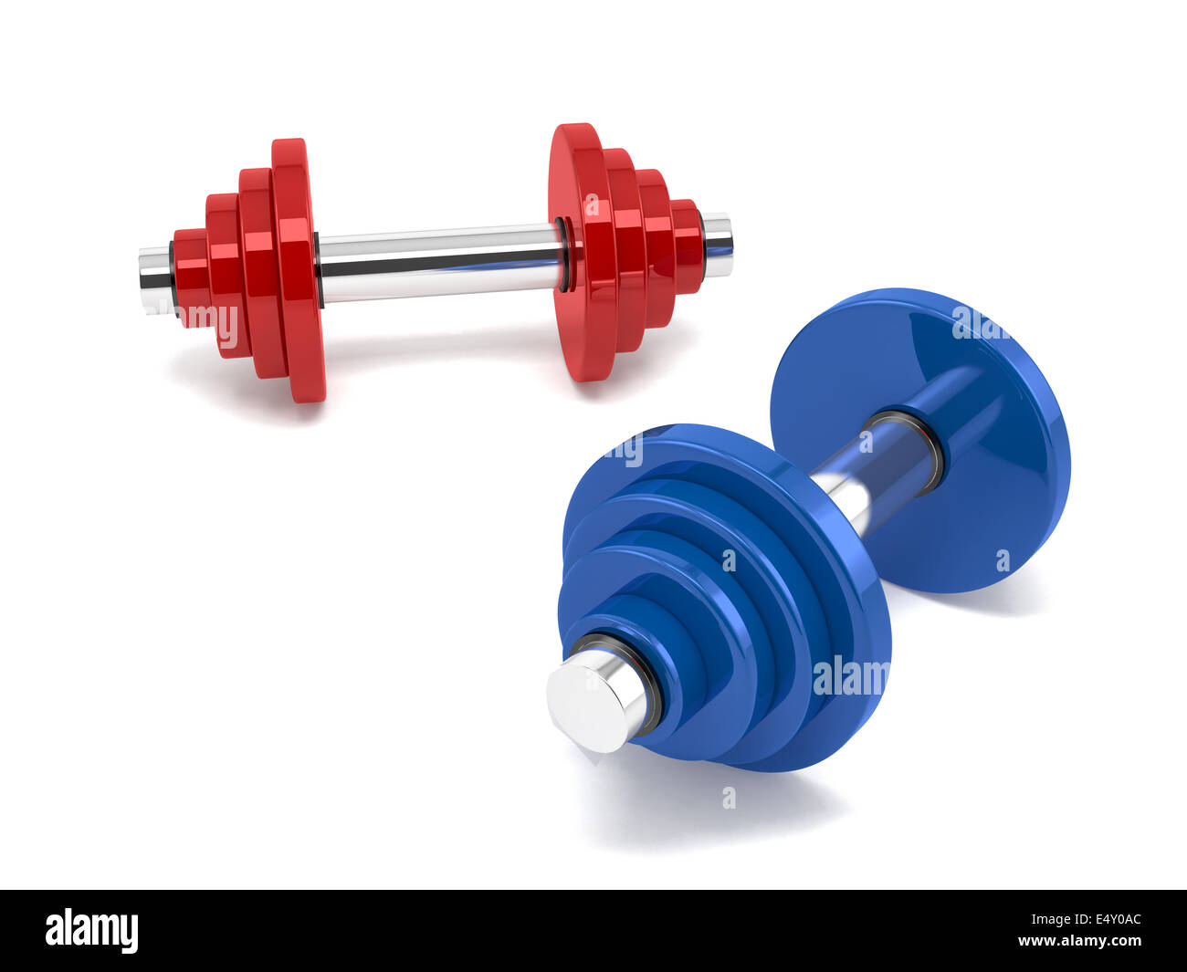 Two dumbbells over white background - Stock Image