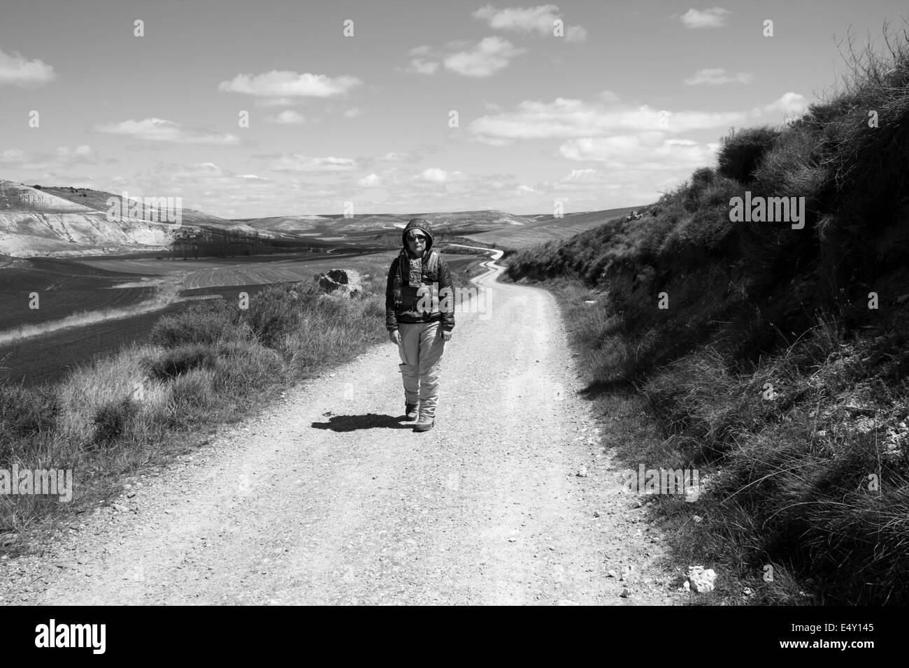 On the way to Sam Bol on the great walk of  Saint James, Jakobsweg, Camino de Santiago, Spain, Black and white Stock Photo