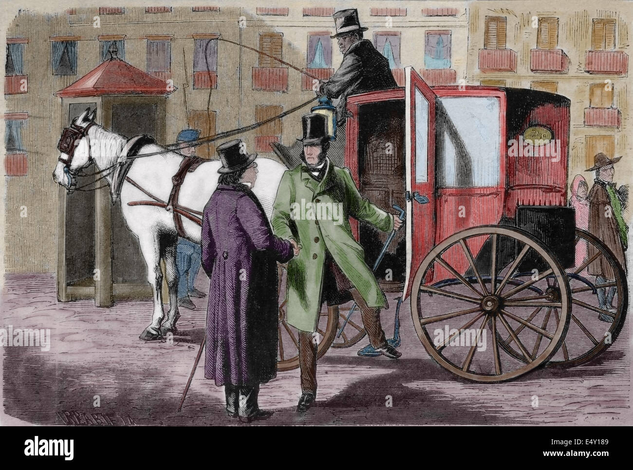 Transportation history. Diligence. Engraving created by Irrabieta, 19th century. - Stock Image