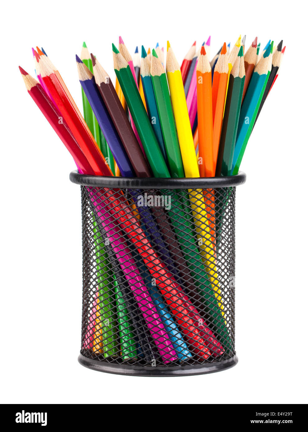 Set of color pencils in a basket Stock Photo