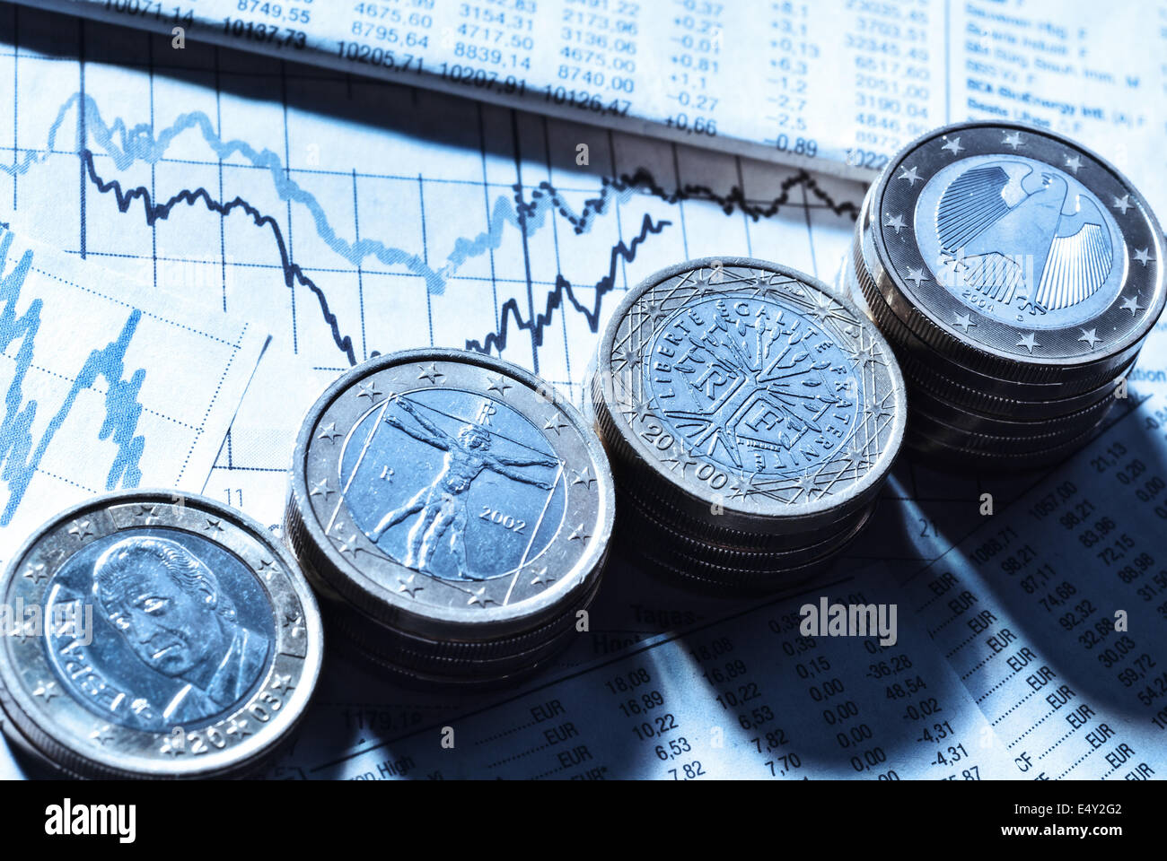 Euro coins and currency exchange rates - Stock Image