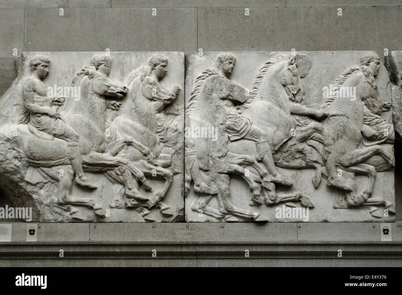 South Frieze of the Parthenon. Cavalry. The Acropolis, Athens, Greece. 438-432 BC. British Museum. London. United - Stock Image